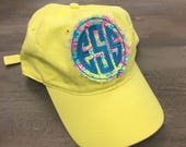 Monogram floral raggy patch cap, monogram cap, monogram hat