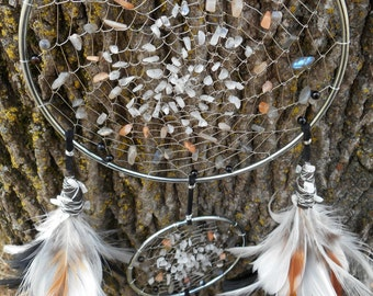 Rainbow Moonstone Hand Woven Double Dream Catcher in Silver by The Emerald Lotus
