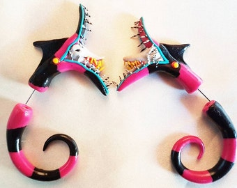 One Pair of Beetle Juice Sand Worm Fake Gauge Stretcher   Tim Burton Inspired   MADE TO ORDER