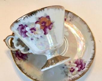 Tea Cup and Saucer / Vintage Porcelain Purple Floral Tea Cup and Saucer Pearlized great for Tea Party, Display, etc.