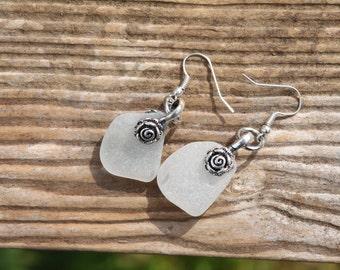 rose bail sea glass earrings Scottish beach seaglass jewelry #jewellery genuine sea glass bridesmaid