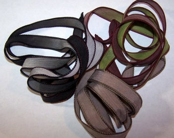 3 Pack Special Sale/Silk Ribbons/Hand Dyed/Wrist Wraps/Sassy Silks/Ready to Ship/ See Description for Details/101-0716