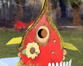 bird house, Custom Birdhouse, bee hive birdhouse, unique birdhouse, original birdhouse in color options, garden art, gift