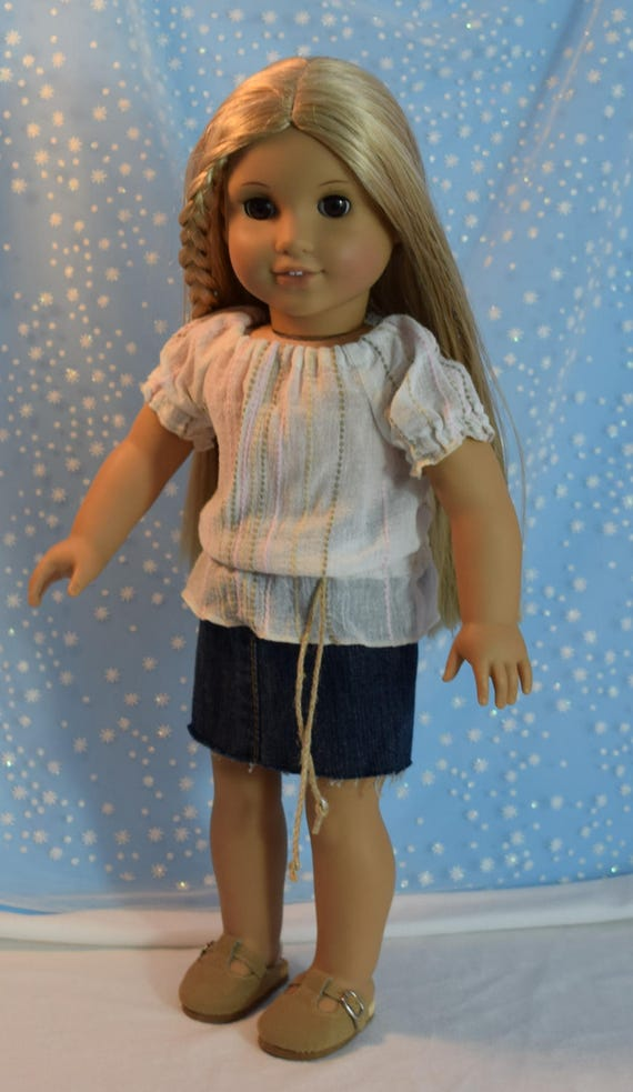 Cutoff denim skirt and belted peasant/tunic  top for American Girl Julie