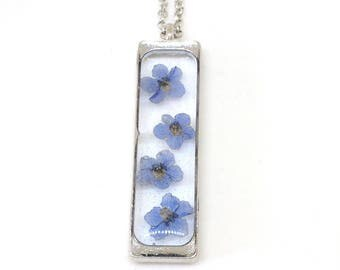 Real Forget me Not Necklace - Real Pressed Flowers In Resin - Pressed Flower Jewelry - Flower resin Necklace - Open Back Bezel - Rectangle