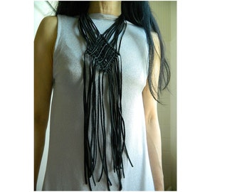 Long Leather Necklace Fringe Necklace Women Boho Jewelry Statement Necklace Bib Necklace Extra Long necklace Big Necklace Macrame Necklace