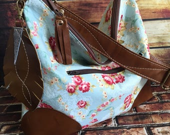 Made to order Slouchy Floral Hobo w/  Brown Leather, Feather & Crossbody Strap