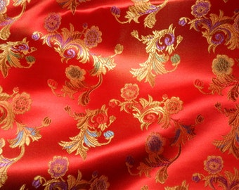 Chinese satin brocade in red - ONE yard of vivid red satin brocade fabric, red brocade, floral brocade, red Chinese brocade - 1 yd.
