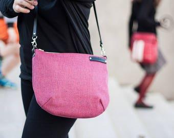 Raspberry messenger bag, crossbody bag with leather adjustable strap, zipper shoulder bag, pink small bag with leather belt in black