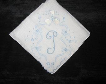 Handkerchief for Bride, Monogrammed Vintage, Initial D, F, A, P or J Something Old Blue, Wedding Hankies