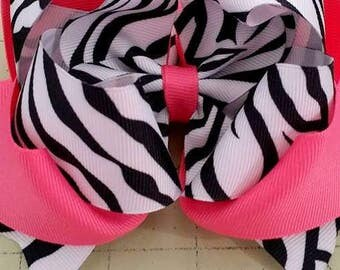 Zebra Hair Bow...Zebra Boutique Bow....Zebra Bow...Black and Pink Zebra bow...Black and Red Zebra bow
