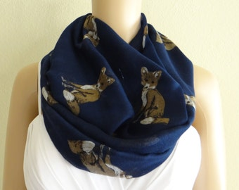 Cat Print Scarf. Circle Scarf. Infinity Scarf. Animal Scarf.