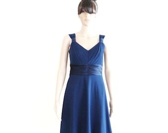 Navy Blue Bridesmaid Dress. Navy Blue Evening Dress. Stretch Knee Length Dress.