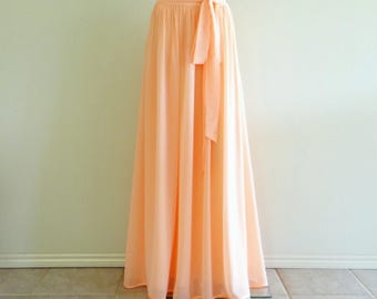 Peach Long Bridesmaid Skirt. Floor Length Skirt. Peach Maxi Skirt. Chiffon Evening Skirt. Party Skirt.