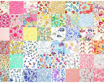 "Sale 10% off Liberty Fabric 48 Mini 2.5"" Charm Square Bundle Patchwork Quilting Pastel Muted Low Volume Pale Colour Liberty London Tana Lawn"