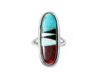 Oblong Coral Turquoise And Opal Navajo Ring