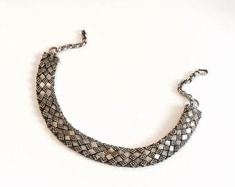Tribal Collar Bib Silver Necklace