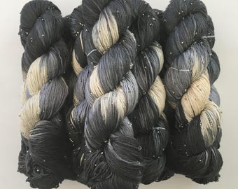 Hand Beaded & Dyed Mulberry Silk Yarn // The New Yorker - Charcoal Gray, Light Grey, Natural // Approx 220 yards per skein // 1 Skein