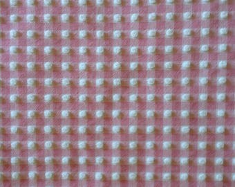 "SALE...Pink Morgan Jones Gingham Chenille Vintage Bedspread Fabric Piece...12 x 18"""