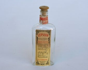 Vintage Italian medicine bottle with original labels and wooden lid