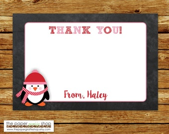 Penguin Thank You Card | Pink Penguin Thank You | Pink Penguin Thank You Card | Winter Wonderland Thank You Card | DIY Printable