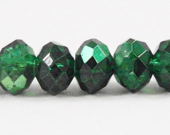 "Metallic Green Crystal Beads 6x4mm Half Metallic Emerald Green Rondelle Beads, Chinese Crystal Glass Beads on an 8 3/4"" Strand with 50 Beads"