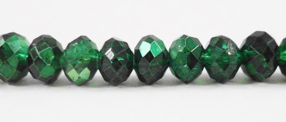 """Metallic Green Crystal Beads 6x4mm Half Metallic Emerald Green Rondelle Beads, Chinese Crystal Glass Beads on an 8 3/4"""" Strand with 50 Beads"""
