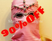 Pink glamorous LED mask with rhinestones by Maria Luck