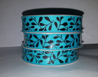 Turquoise and Black Ivy Ribbon