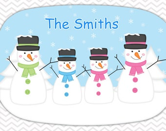 Personalized Platter - Custom Tray for Christmas - Personalized Snowman Serving Platter - Custom Melamine Platter