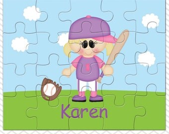 Softball Girl Personalized Puzzle, Personalized Softball Puzzle, Personalized Kids Puzzle