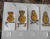 Bookmarks Owls, Watercolor paintings, miniature paintings, paper crafts, owl decor, hand painted tags, fine art watercolor paintings