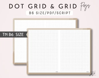 B6 TN Dot Grid and Grid - Printable Traveler's Notebook Insert - Script Theme
