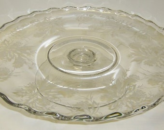 Fostoria Glass Crystal HEATHER 12 Inch Footed CAKE PLATE or Stand