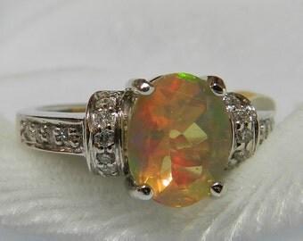 Opal Engagement Ring 18K Opal Ring Diamond Halo Ring 1.30 Ct Opal Engagement Ring October Birthstone Gift Women Fiery Ethiopian Opal Ring