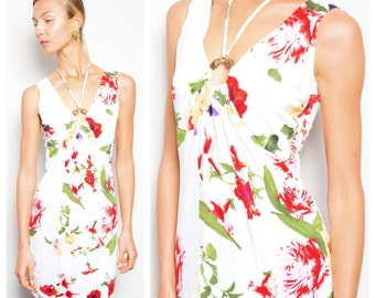 S.A.L.E was 200 now 150 vintage 90s ROBERTO CAVALLI mainline floral print jewelled snake ring halter mini dress