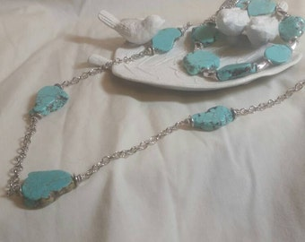 Boho Inspired Turquoise Slab Necklace And Bracelet Set