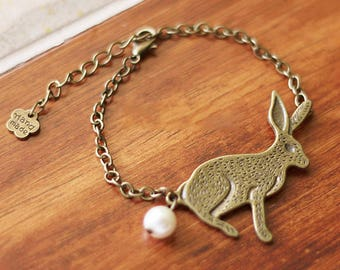 Department of forestry, restore ancient ways small rabbit pearl  bracelet 0307-2