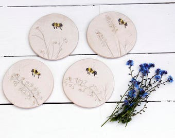 Bumble Bee And Wild Flower Ceramic Coasters
