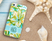 Tropical floral Iphone 6s Plus case, Turquoise and gold, Monogram Iphone 6 case  (1638)