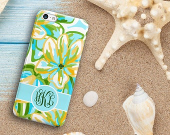 Tropical floral phone case, Turquoise green and gold, Monogram Fits iPhone 4/4s 5/5s 6/6s 7 8 5c SE X and Plus for her Gifts for wife (1638)