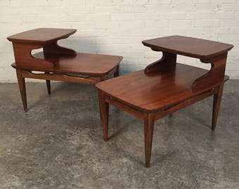 Pair Mid-Century Modern Walnut 2-Tier End Tables / Nightstands - SHIPPING NOT INCLUDED
