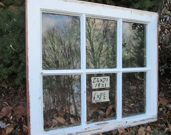 24 x 21 Vintage Window sash old 6 pane  frame from 1931 Arts& Crafts