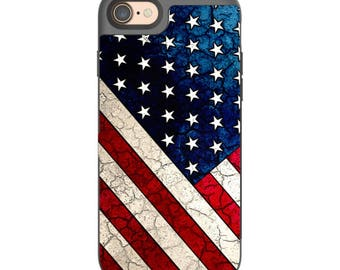 US Flag Apple iPhone 7 Card holder Case - Stars and Stripes - Credit Card Apple iPhone 7 Case with Rubber Sides by Da Vinci Case USA