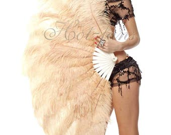 """Burlesque Dance Beige Camel  2-layer Ostrich Feather Fan 30"""" x 54"""" with gift box"""