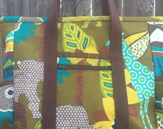 Safari Animal Diaper Bag, Nurse Tote, Tote Bag with Zipper, Teacher Tote, Large Tote Bag with Pockets, Travel Tote, Nurse Bag, Teacher Bag