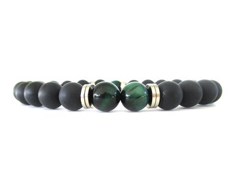 Men's Bracelet with Matte Black Onyx and Green Tiger Eye Beads - Men's Jewelry - Beaded Stretch Bracelet - Bracelets for Men - M11112