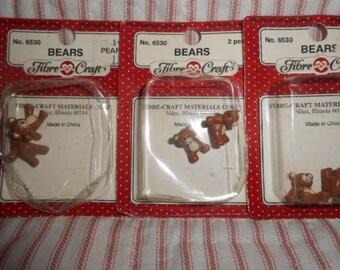 Fibre-Craft-Three Packs Of Miniature Bears-Old Store Stock