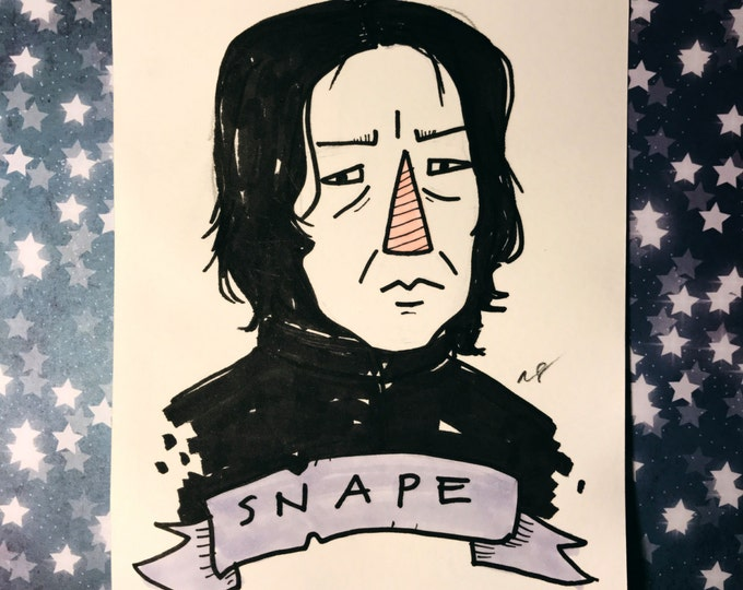 Snape 3x4 inch ink drawing on paper. Harry Potter.