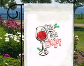 Tis The Season Wine NEW Small Garden Yard Flag, Christmas Holiday Fun Parties Events